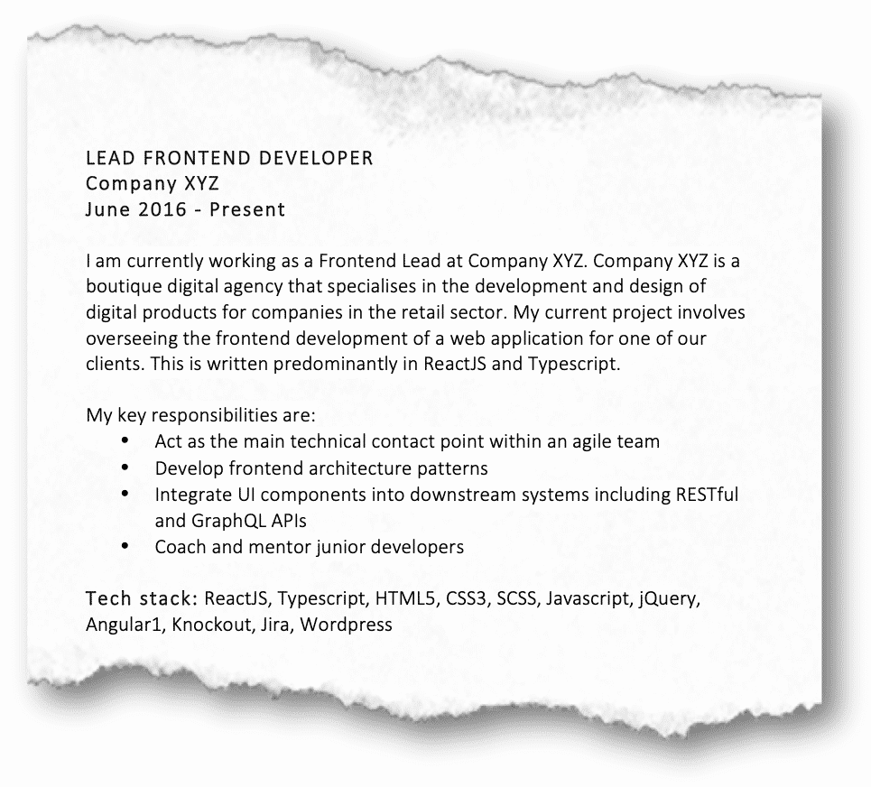 Front end develop example on resume